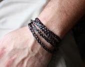 Mens leather Bracelet - Mens black leather Bracelet , Tan Leather , Brown Leather