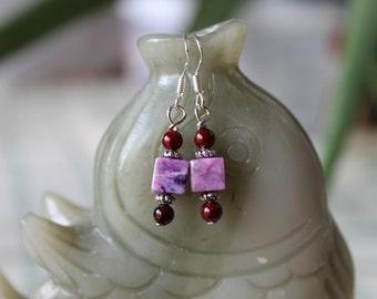 Small Cube Purple Jasper Earrings, sterling silver hook