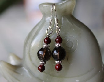 Small Faceted Smoky Quartz Earrings, sterling silver hook