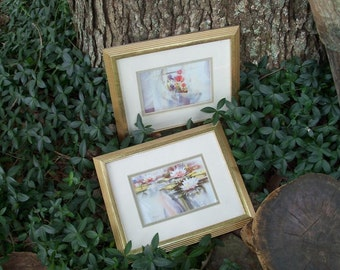 Impressionist Watercolor Framed Art Pair Double Mat Guilded Display