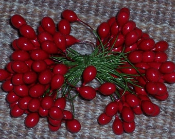 red holly berries, 3 inch wires with 7mm berries on each end, 72 pcs, Holiday,Christmas crafts,craft trim,florals,wreaths,package trim