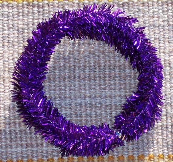 Purple wired mini tinsel garlandappx