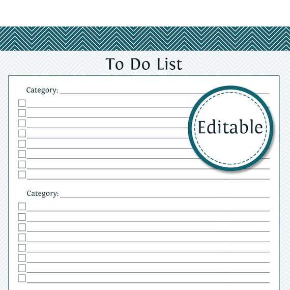 To Do List with Categories Fillable Productivity Printable