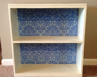 SOLD - Small Shabby Chic Bookcase with Decorative Paper Lined Back