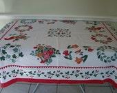 Vintage 1950s Cotton Tablecloth  53 x 53