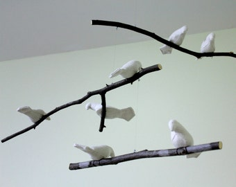 Bird Mobile - Natural or White Linen Fabric Birds - Made to order