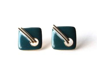 Gold and Teal Earrings Geometric Square Earrings Post Earrings