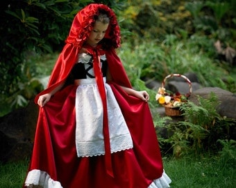Hooded Cape in Taffeta with Rose Embellishments - Little Red Riding Hood