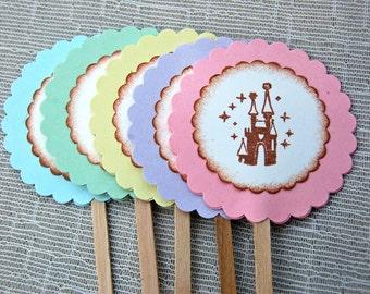 Cinderella's Castle Cupcake Toppers -Set of 12 (Princess Castle/ Disney Princess Birthday Party/ Cupcake Decor)