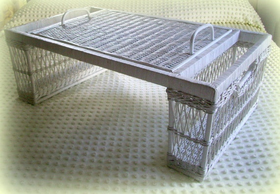 Vintage Wicker Rattan Bed Tray Or Lap Tray Lift Off Handled