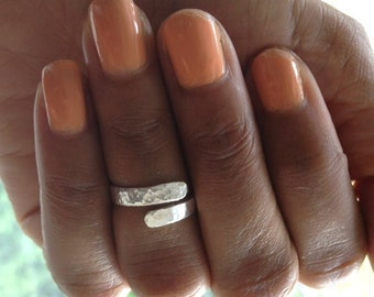 Silver Hammered Midi Ring Pinky Ring UK Shop   Birthday Gift  Mothers Day Gift