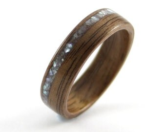 Wooden Wedding Ring Handcrafted In Walnut With Crushed Pearl Inlay