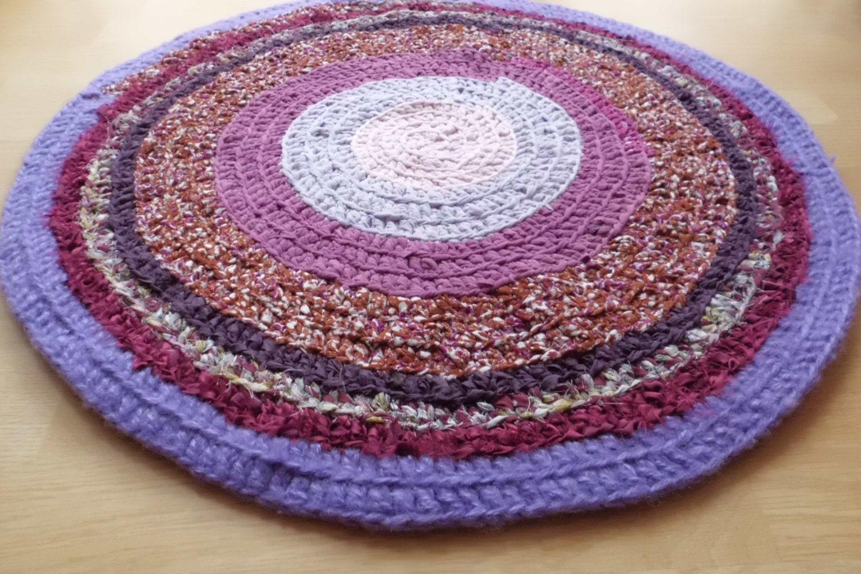 Pink and purple crochet round kitchen rug nursery floor rug