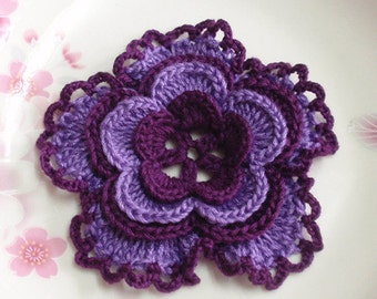 Larger Crochet Flower in deep burgundy/purple 3-1/4 inches