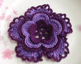 Larger Crochet Flower in deep burgundy/purple 3-1/4 inches