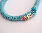 Fiber art boho necklace - organic jewelry - crochet in light blue and turquoise - Loulalalou