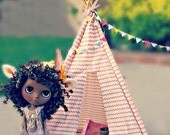 Teepee Doll Sized Tent Blythe or Similar 18 inch high Tipi in Mini Chevron