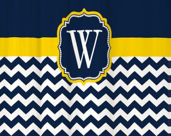 Shower Curtain Chevron YOU CHOOSE COLORS 70, 74, 78, 84, 88 or 96 inch Extra Long Custom Monogram Personalized for You Shown Navy & Yellow