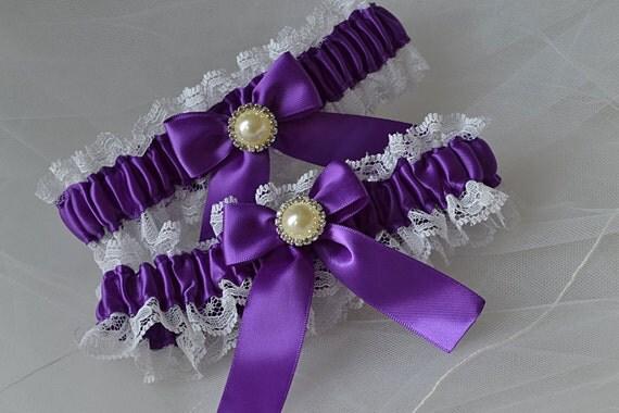 Wedding Garter Set In Purple With White Raschel Lace