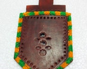 Kutch Handcrafted Handheld Purse Mirror/Pocket Mirror - Leather Carving And Festive Colours