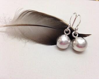 Silver orb earrings