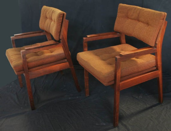 Wood Arm Chairs For Office ~ Vintage set of two brown walnut wood frame tufted arm side