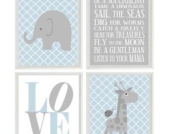Nursery Art Elephant Giraffe Quatrefoil Nursery Prints Gray Blue Baby Boy  Wall Art  Love Baby Nursery Decor Playroom Rules Quote -