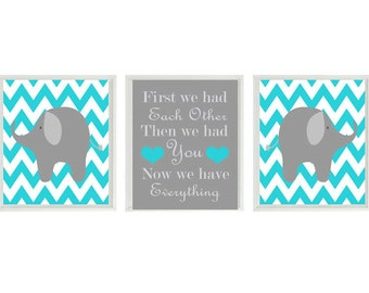 Elephant Nursery Art Print Set  - Gray Turquoise Chevon Decor - First We Had Each Other Quote - Modern Baby Boy - Wall Art Home Decor