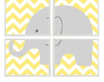 Elephant Nursery Wall Art - Chevron Yellow Gray Decor - Neutral Baby Children Kid room - Modern Wall Art Print Set Home Decor   -