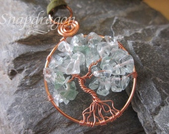 Apple green glass chip tree of life wrapped in copper