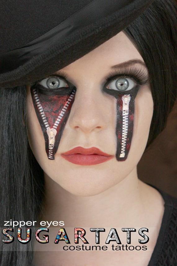 Items similar to zipper eyes temporary tattoos horror for Halloween makeup tattoos