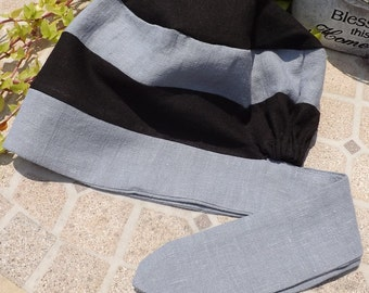 Two Toned 100% Black & Shadow Blue Linen Pull On Snood Head Covering with Tie Closure