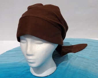 Beautiful Brown 100% Linen Pull On Snood Head Covering