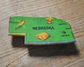 Vintage Puzzle Piece Magnet-  NEBRASKA