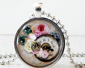 Clock Pendant, Clock Necklace, Clock Jewelry, Steampunk Watch Pendant, Steampunk Watch Necklace, Steampunk Jewelry, Glass Art Pendant