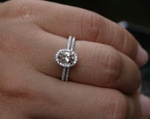 Morganite Bridal Ring Set in 14k White Gold Morganite Oval 7x5mm Diamond Engagement Ring and Wedding Band Set (Available in Rose Gold also)