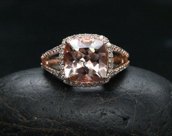 DOLLAR 250+ OFF LIST Price - Rose Gold Pink Morganite Ring Cushion Morganite 9mm Split Shank Ring in 14k Gold with Diamond Halo Ring