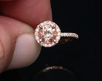 LIMITED TIME Discount Morganite Halo Diamond Engagement Ring in 14k Rose Gold 6mm Round Peach Pink Morganite Ring