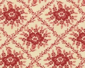 """Moda Midwinter Reds Crosshatched Floral Cream and Red - Minick & Simpson - 15"""" end of bolt piece"""