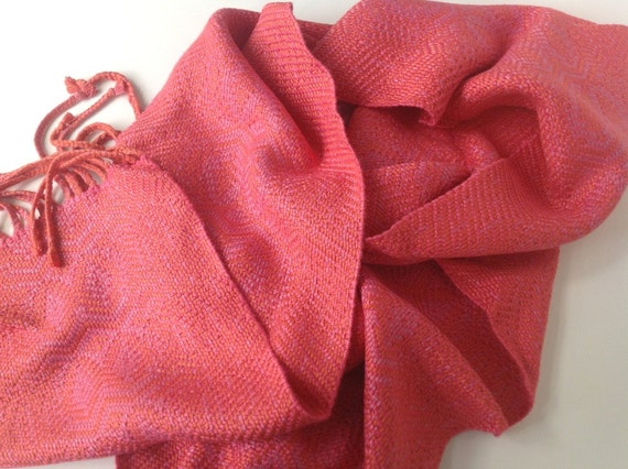 Dressy Coral Scarf, Handwoven Bamboo Fashion Accessory, Gift for Her