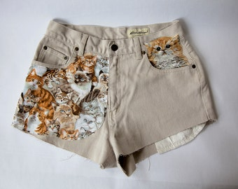 Vintage High Waist Tan Distressed Denim Cut Off Cat Shorts