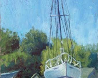 "Original Pastel Landscape Painting - ""Tall and Proud"" by Colette Savage fine art fishing sailing boating art marina dry-dock nautical lake"