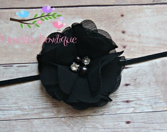 Black Flower Headband, Newborn Headband, Baby Girl Headband, Children's Headband, Infant Headband, Girl's Headband