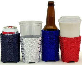 Beverage Insulators 4 #Sequin Set Fabric PocketHuggie-#Starbucks Cold/Hot #Coffee, #Beer #SoloCup,#Pint-3 Sizes-CUP, CAN, GLASS BeerBottle