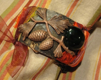 OOAK Bronze Acorn Stampings CUFF Bracelet with Emerald Pebble, Silk Saris and Ribbons