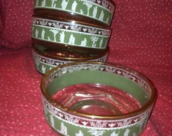 Set of 4 Vintage  Vintage Jeanette glass company Wedgwood Hellenic Green bowls Jasperware 1950s Greek  Four Glass