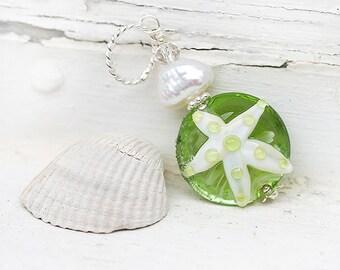 Beach Starfish Pendant, lime green handmade lampwork glass bead on sterling silver, beach jewelry by MayaHoney