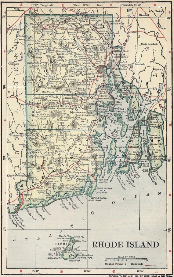 1891 State Map Rhode Island Cities County Towns By