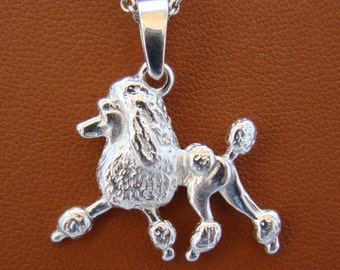 Small Sterling Silver Poodle Moving Study Pendant