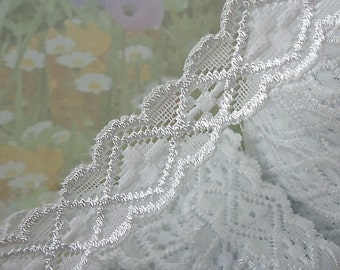 3yds White Stretch Lace Elastic Ribbon Trim Diamond design Pattern for Baby Headbands, lingerie Edging wedding scrapbooking sewing trim